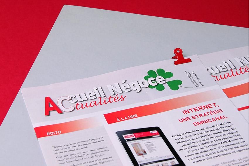 Je réalise des supports de communication d'entreprise comme le journal interne du groupe Accueil Négoce.