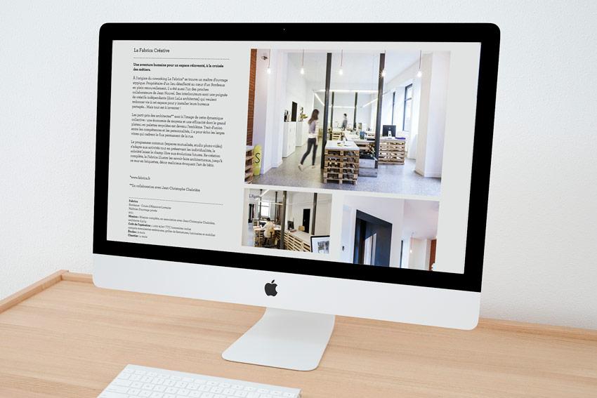 Rédaction des pages du site web de l'agence d'architecture LaLa à Bordeaux.