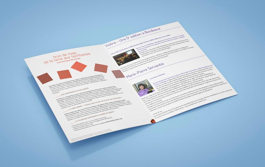 Conception-rédaction de dossiers de presse pour l'association l'Académie de la Couleur à Bordeaux.