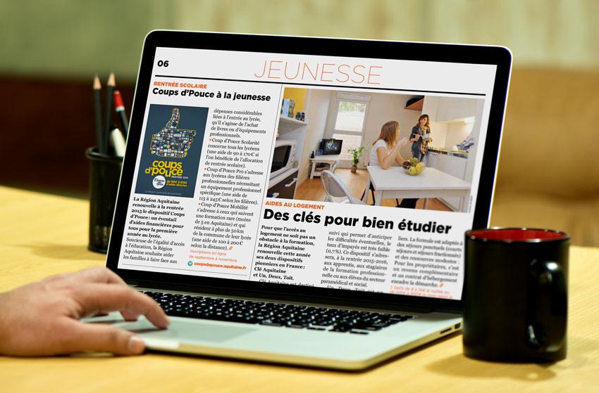 J'écrit des sujets pour les publications de la Région Aquitaine, papier et en ligne, sur les métiers ou le territoire.
