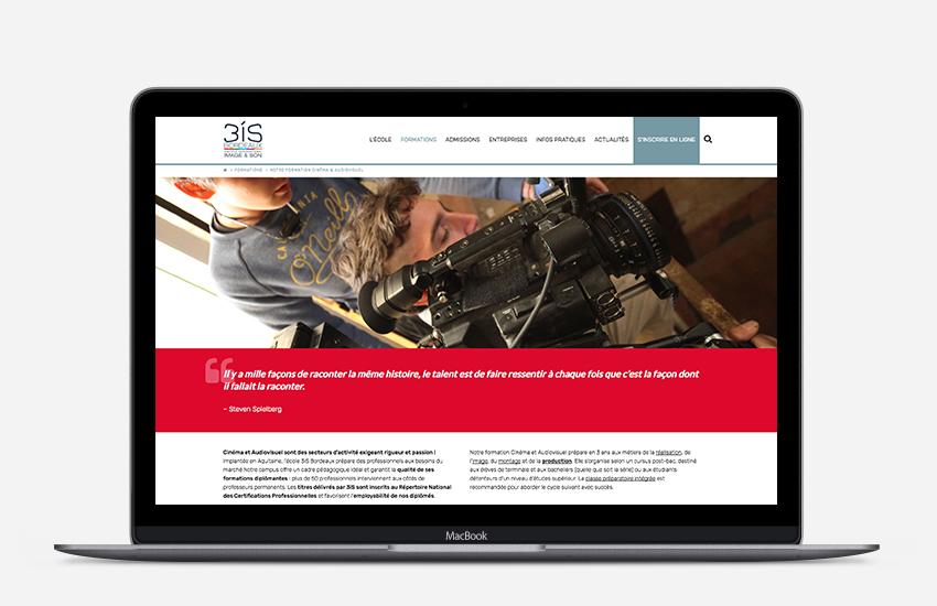 Rédaction web et conception-rédaction pour le nouveau site de l'école 3iS Bordeaux.